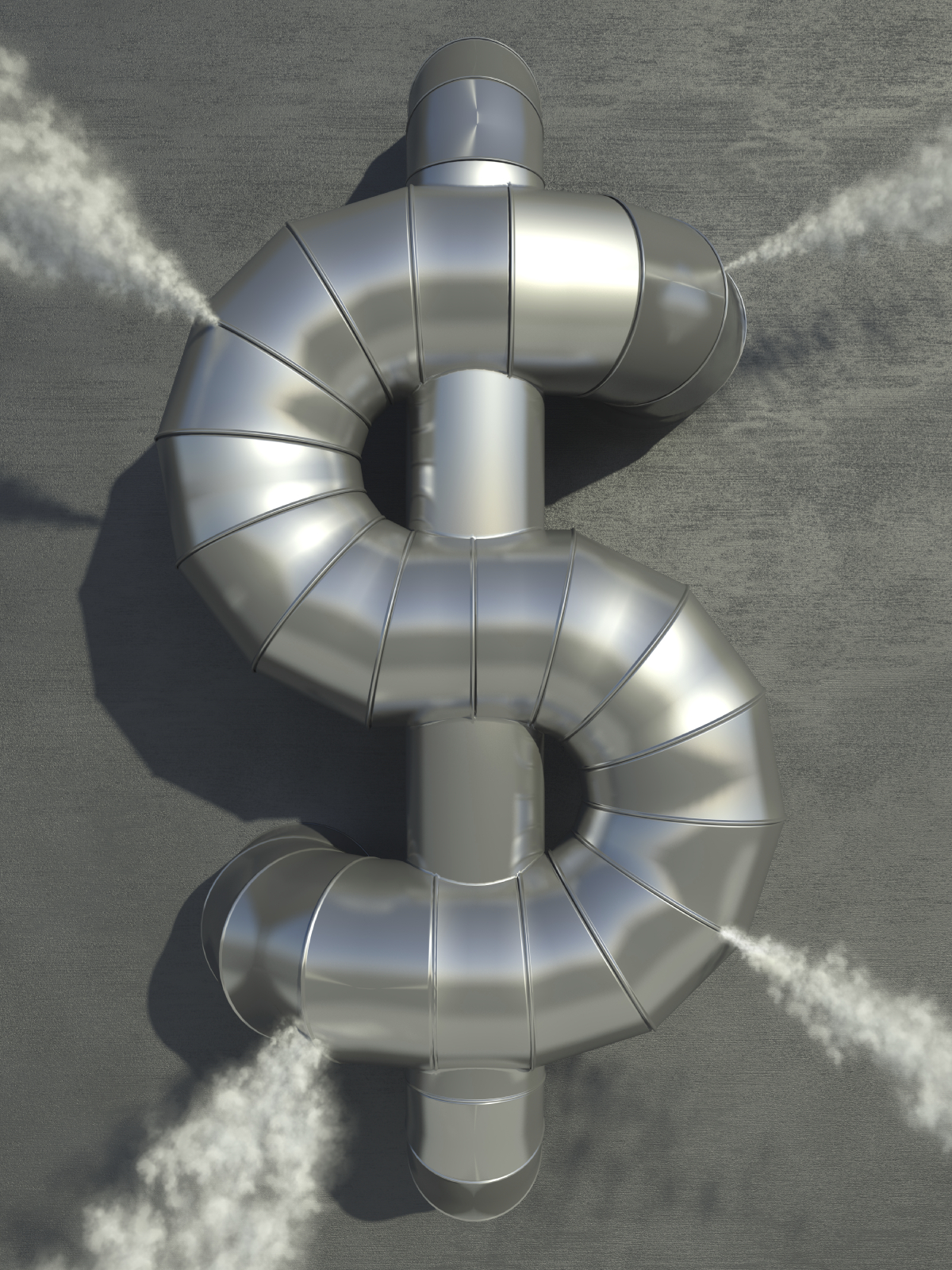 Pressure leaking from industrial pipes in the shape of a dollar sign. Very high resolution 3D render.
